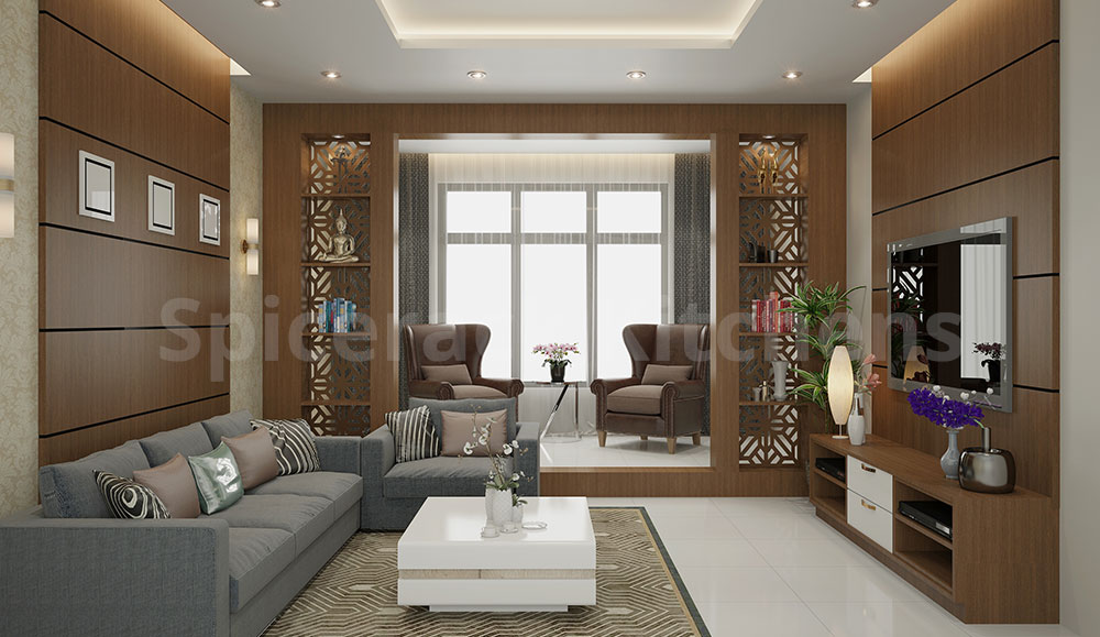 Wooden Laminate TV Unit and Living Area Design