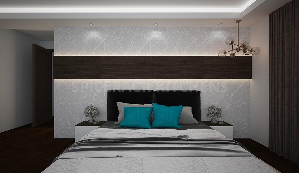 White Wood Brown Contrast Bedroom Design