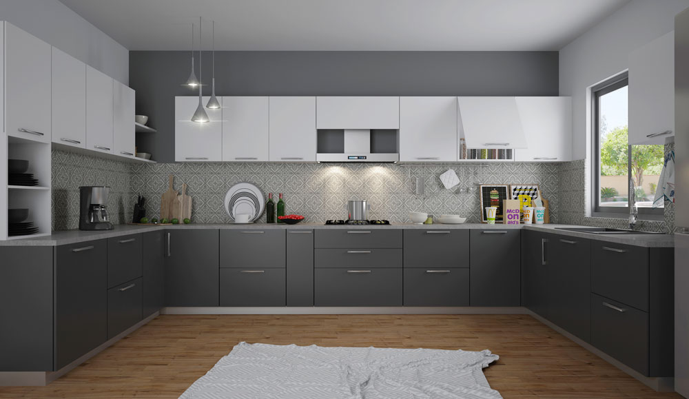 Black and White U Shaped Kitchen