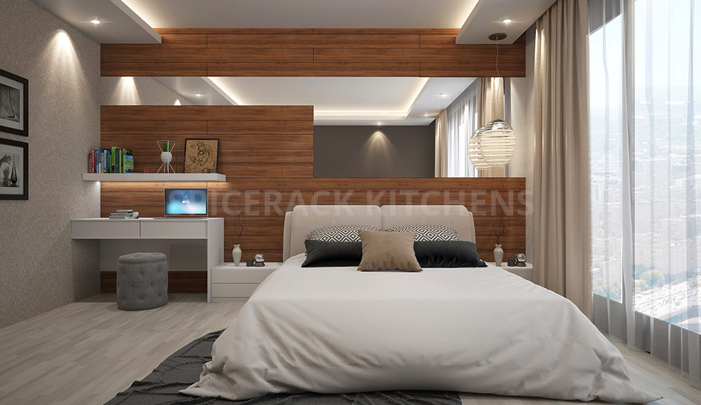 Wooden Structure Wall Design With Cusion Bed