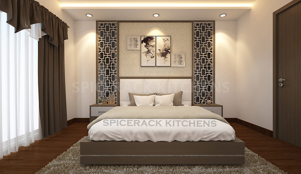 Wood Floor Grey Texture Wall Design Bedroom Idea Spicerack Kitchens