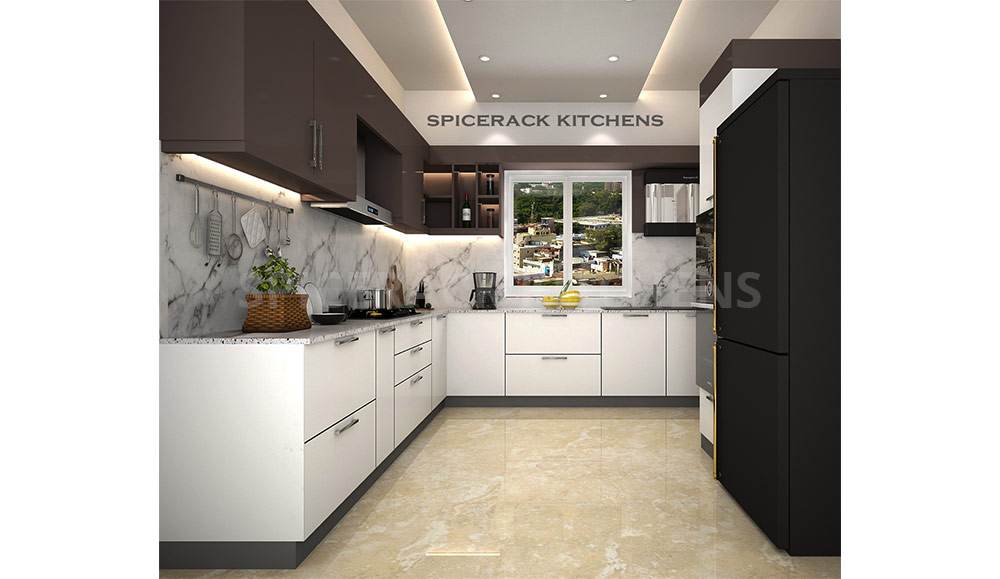 Black White Contrast U Shape Modular Kitchen Spicerack Kitchens