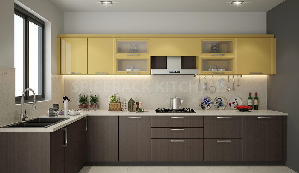 Yellow And Wood L Shape Modular Kitchen Design   Spicerack ...