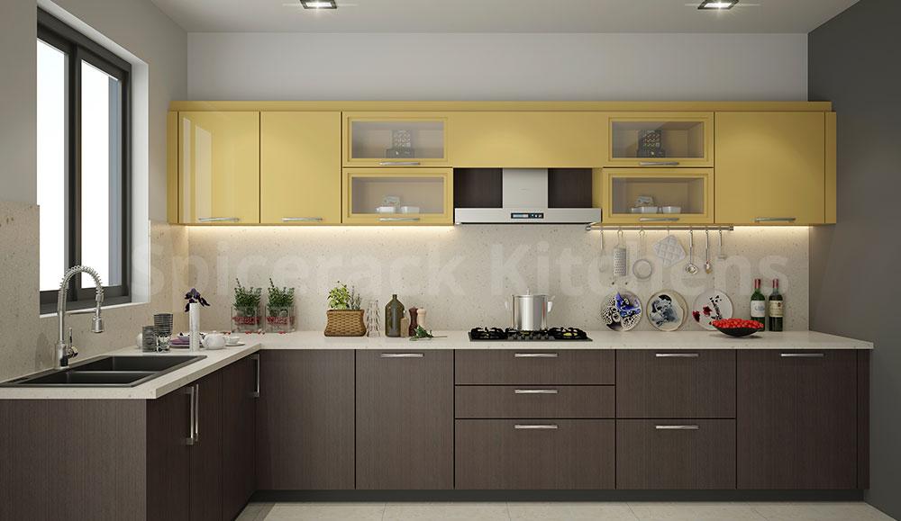 L Shaped Brown & Yellow Kitchen