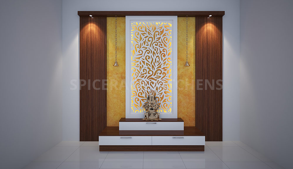 Two Step Pooja Unit With Brown Texture