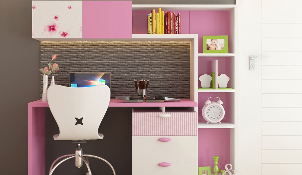 Kids Study Table with Pink Texture