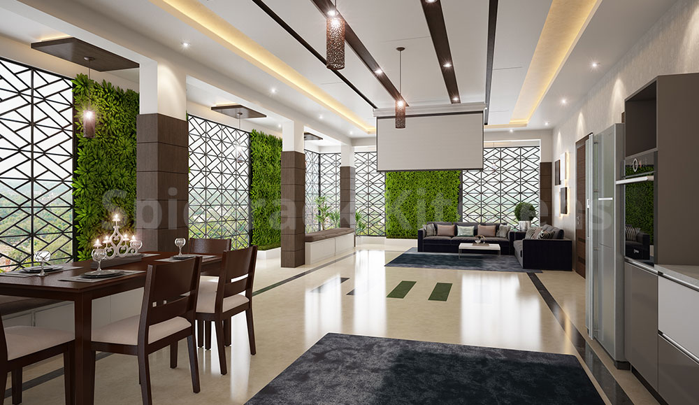 Living Area and False Ceiling Wooden Design
