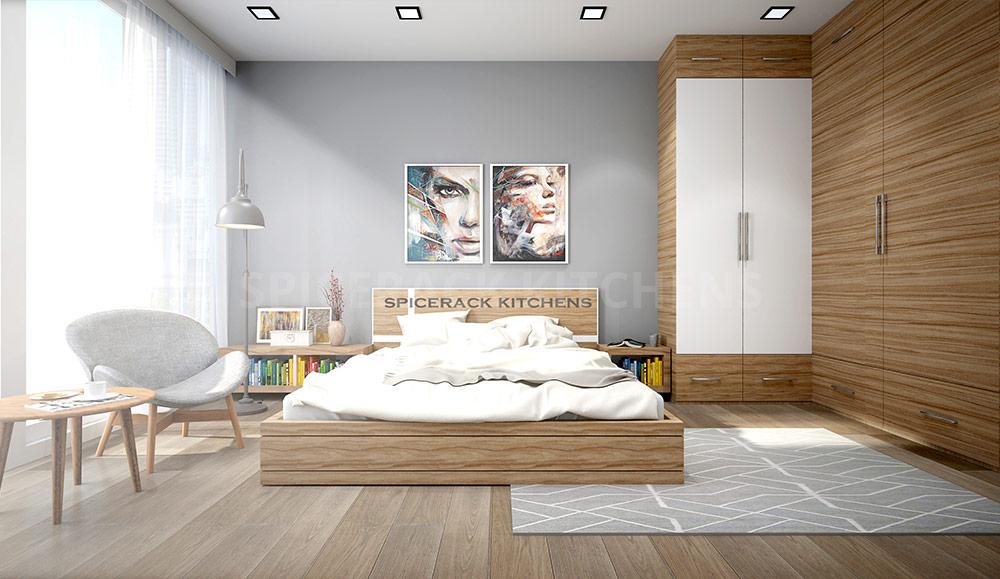 Wood Contrast Bed Wardrobe Bedroom Design Idea