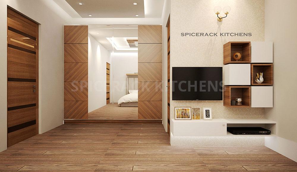 Wood Flooring And Wall Texture Bedroom Design