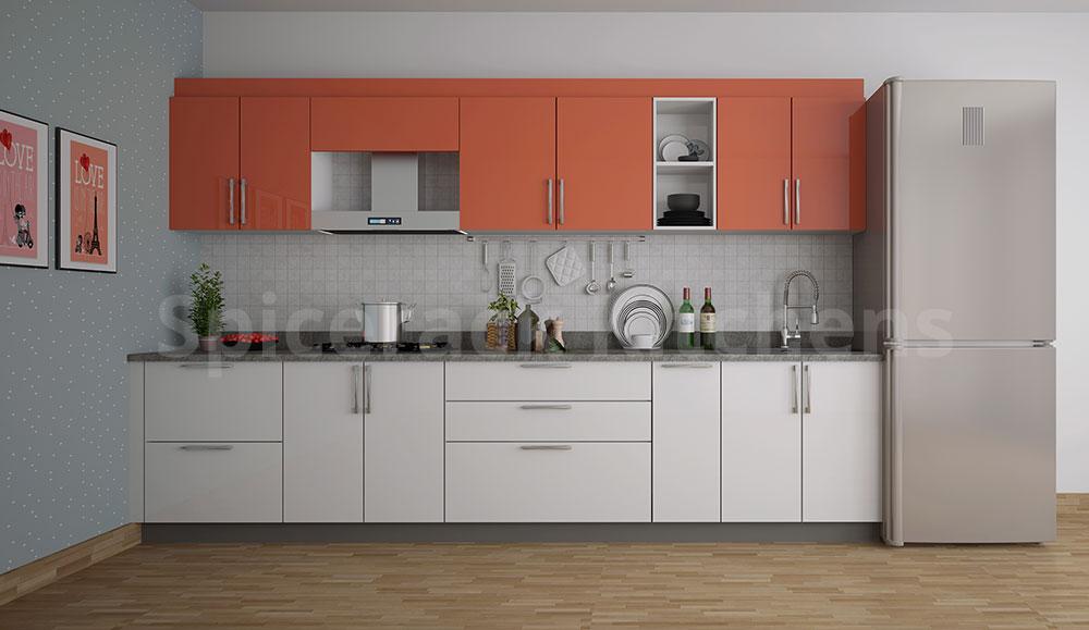 White & Red Straight Kitchen
