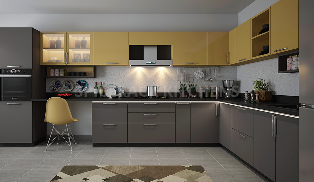 New Dark Grey And Yellow L Shape Modular Kitchen Spicerack Kitchens