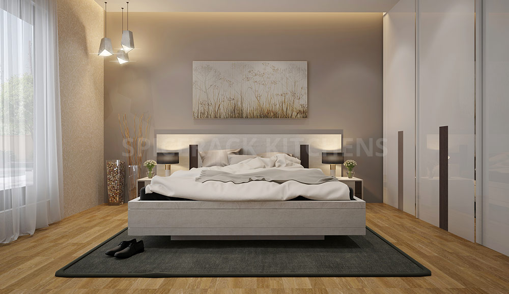 Urban Style White Texture Bed