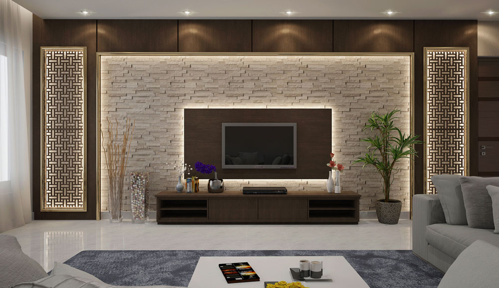 Wooden Texture TV Unit and Rack Design